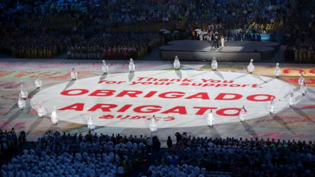 A huge message is unveiled in the main arena reading