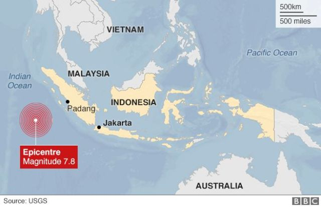 Map of earthquake epicentre