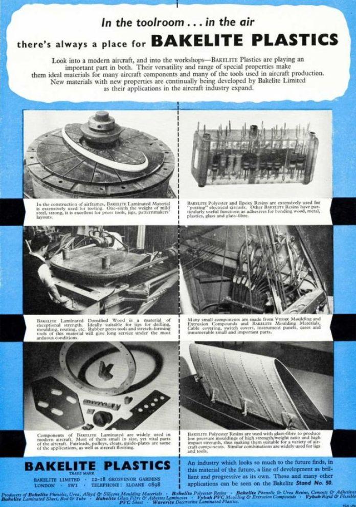 Un annuncio per le materie plastiche di Bakelite in una rivista commerciale dell'industria aeronautica intorno al 1955
