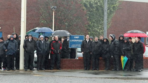 Prison officers protesting at HMP Liverpool