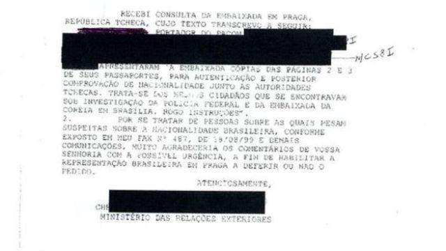 Reprodução documento do MRE