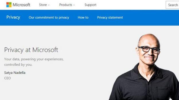 El director general de Microsoft en la página sobre privacidad de la compañía