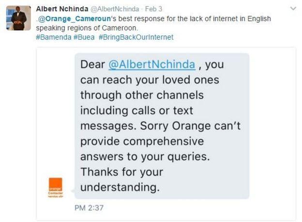 Tweet of Orange non-answer to complaint