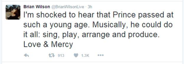A tweet from Brian Wilson: