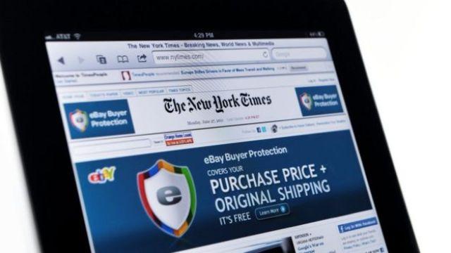 Anuncio en una página de The New York Times