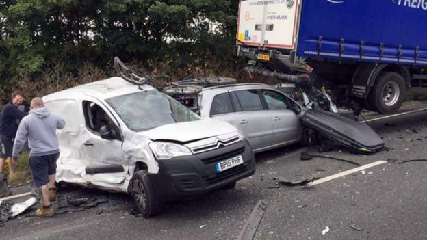 Cars involved in the pile-up