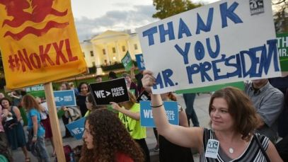 Activists rallied outside the White House in 2015 to thank Obama for blocking the pipeline