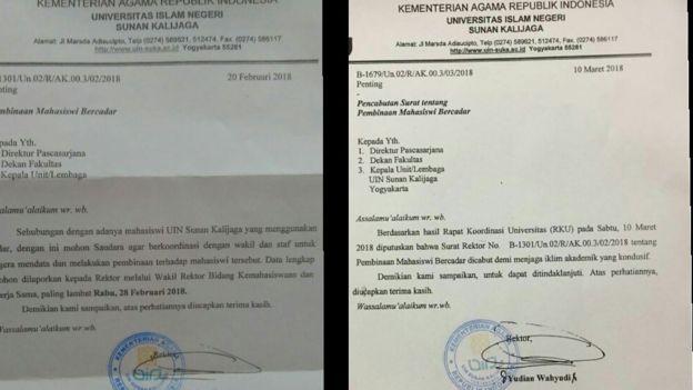 Surat Edaran mengenai pendataan dan pembinaan (kiri) dan Surat Edaran yang mencabut putusan sebelumnya (kanan).