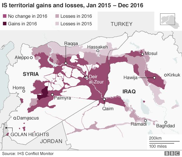 Map showing IS territorial gains and losses, January 2015 to December 2016