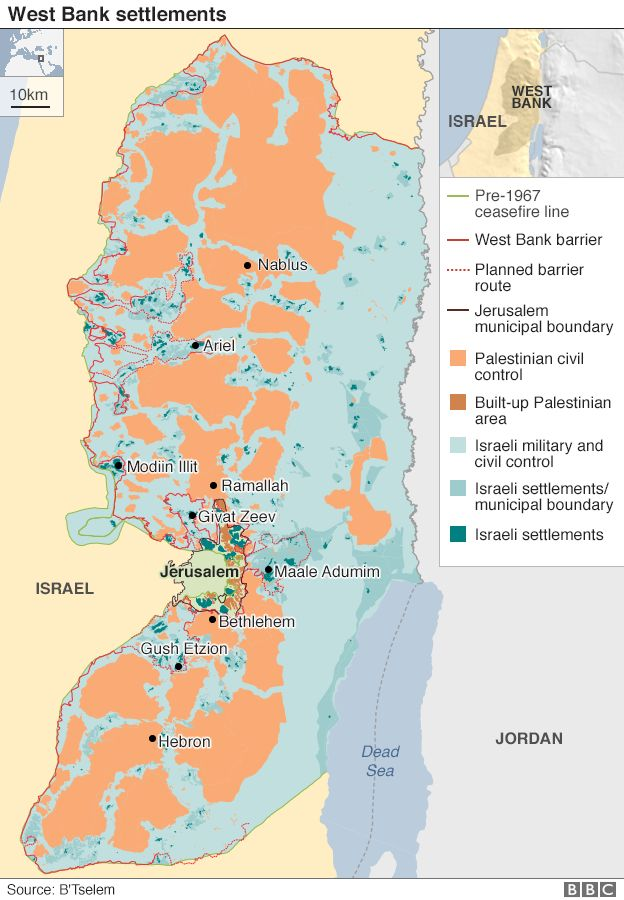 Map showing location of settlements in the occupied West Bank and East Jerusalem