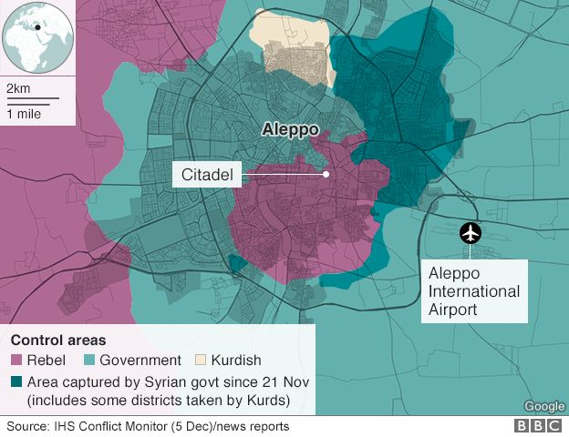 Map showing control of Aleppo (5 December 2016)