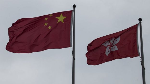The flags of China and Hong Kong