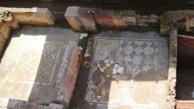 View of mosaics in Amba Aradam ruins, 16 May 16