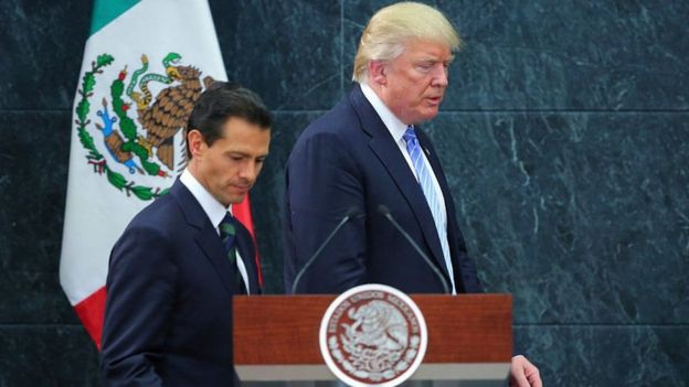 Enrique Pena Nieto (left) and Donald Trump