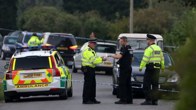 Police at the scene of the shooting in Northiam