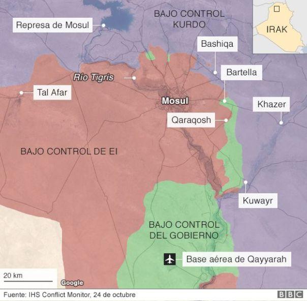 Mapa sobre el avance de la batalla sobre Mosul.