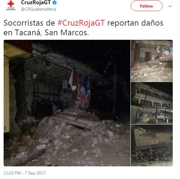Guatemala's Red Cross tweeted damage in the town of Tacana, close to the Mexican border