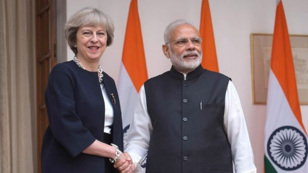 British Prime Minister Theresa May and her Indian counterpart, Narendra Modi