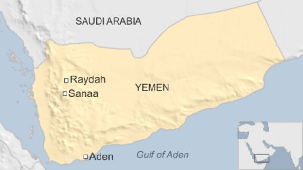 Map of Yemen showing location of Raydah