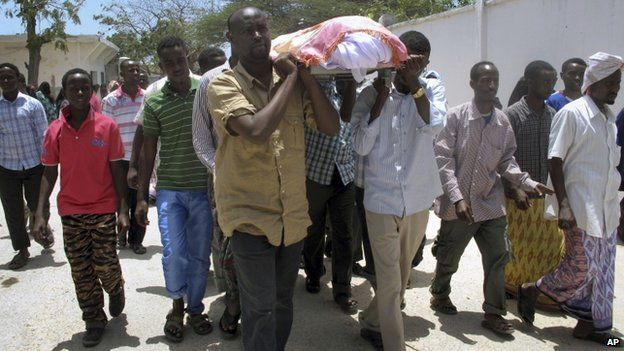 Friends and relatives carry the coffin of Abdisatar Daher Sabriye, a well known journalist with state-run television who died in September 2012 in Mogadishu, Somalia