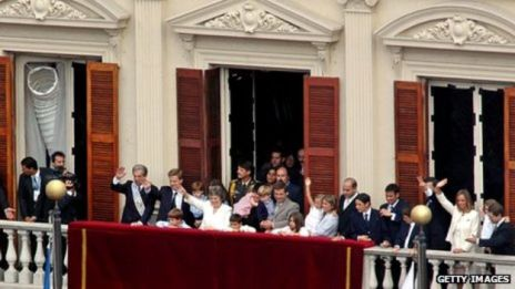 Tabare Vasquez, his supporters and relatives on a balcony at Uruguay's official presidential residence
