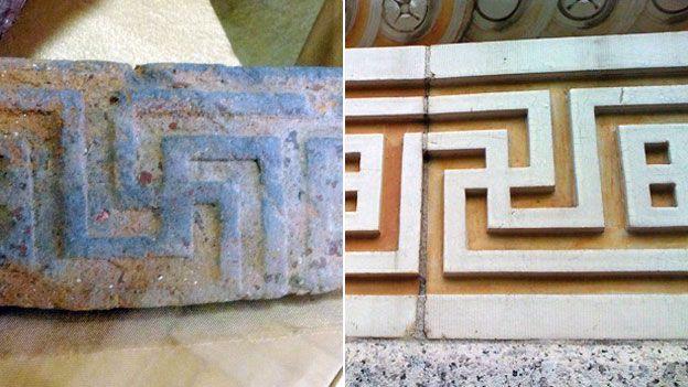 Izquierda: esvásticas arquitectónicas griegas en el Museo Nacional de Historia de Ucrania.  Derecha: Decoración en la Academia de Música de Brooklyn