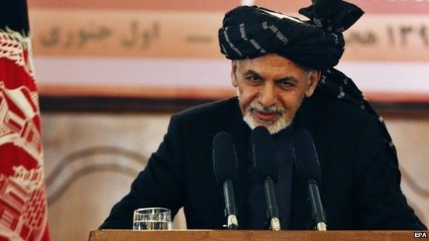 Afghan President, Ashraf Ghani, addresses an event at the Presidential palace in Kabul, Afghanistan, 01 January 2015