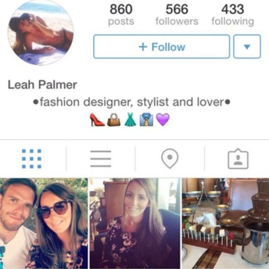 Screen grab of fake Leah Palmer account