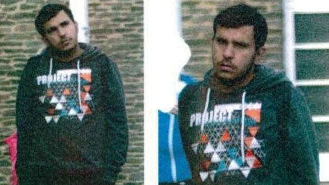 Pictures of a person believed to be Jaber al-Bakr released by German police