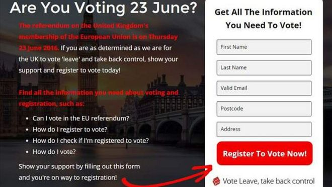 Page on Vote Leave website
