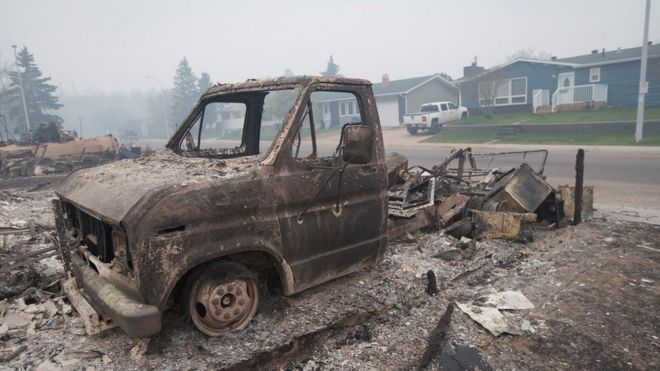 The remains of a charred vehicle sit in a residential neighborhood heavily damaged by a wildfire in Fort McMurray (07 May 2016)