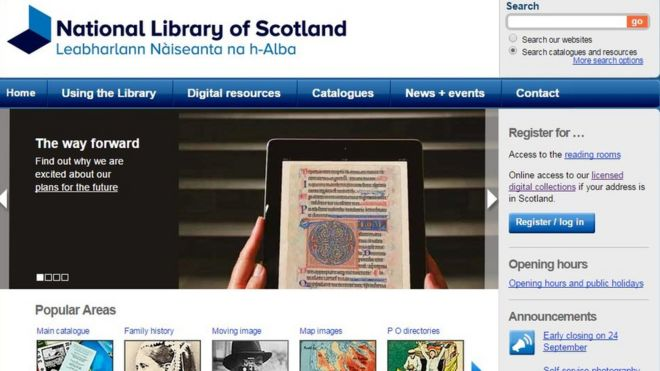 National Library of Scotland website