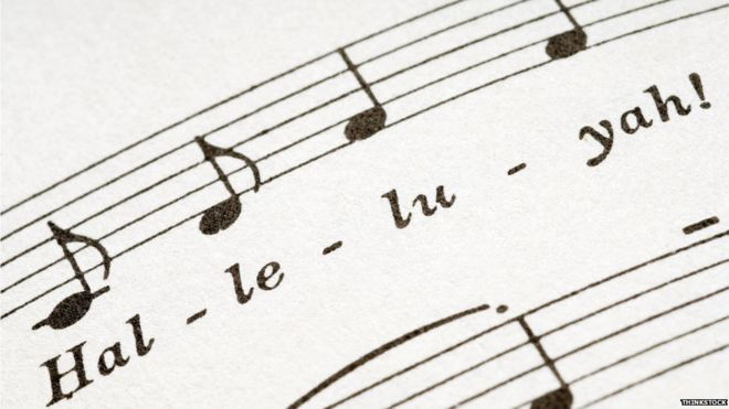 Music score with the words