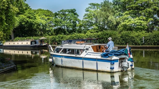 Boats on a River in Thrupp, Oxfordshire