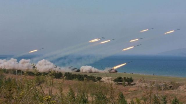 This undated picture released by North Korea's official Korean Central News Agency (KCNA) on April 26, 2017 shows live-fire exercises