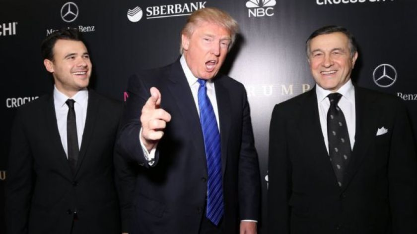 Emin Agalarov, Donald Trump and Aras Agalarov attend the red carpet at Miss Universe Pageant Competition 2013 on November 9, 2013 in Moscow