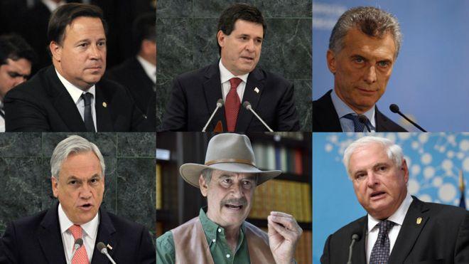 Os presidentes do Panamá, Juan Carlos Varela, do Paraguai, Horacio Cartes e da Argentina, Mauricio Macri e os ex-presidentes do Chile, Sebastián Piñera, do México, Vicente Fox e do Panamá, Ricardo Martinelli