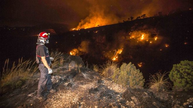 A firefighter looks at the forest fire burning in Canon de Almadenes, one of three sites consumed by fire in Cieza, southeastern Spain, early 7 August 2015