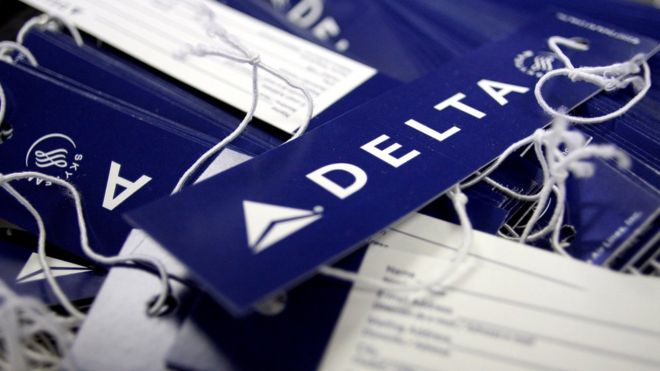 Delta nametags on display in the US