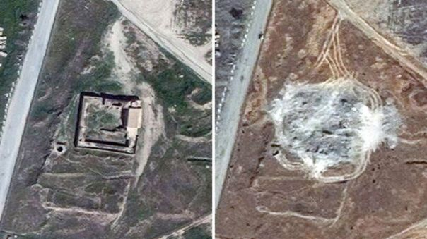 Satellite images provided by DigitalGlobe, taken on 31 March 2011 and 28 September 2014 showing the site of St Elijah's Monastery, or Deir Mar Elia, on the outskirts of Mosul, Iraq