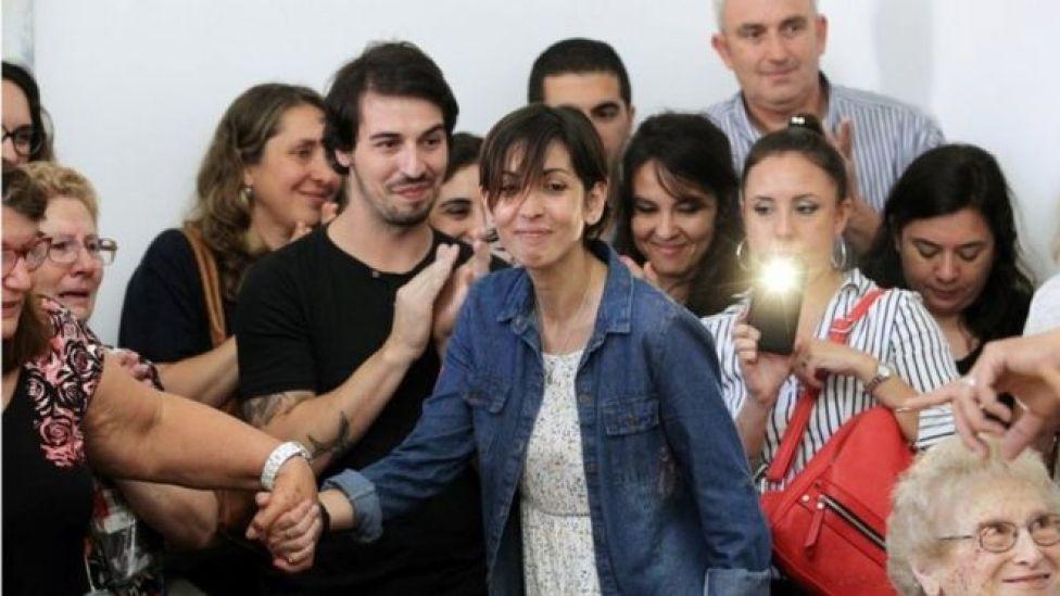 Adriana durante coletiva de imprensa das Avós da Praça de Maio