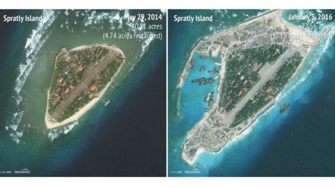 Hình ảnh so sánh cho thấy quy mô cải tạo đảo Trường Sa của Việt Nam