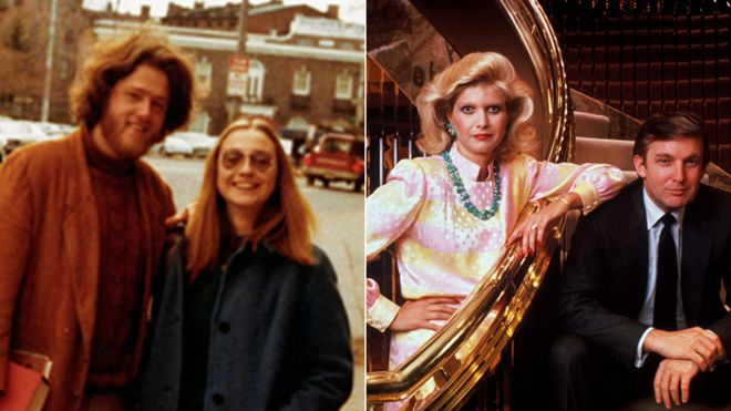 Bill and Hillary Clinton in Yale, 1972 / Donald and Ivana Trump in 1990