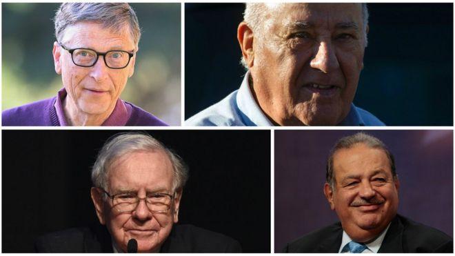 Bill Gates, Amancio Ortega, Warren Buffett y Carlos Slim