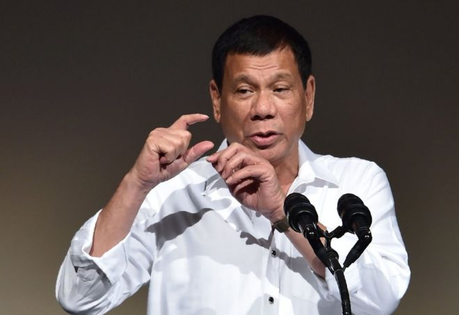 "Philippines"" President Rodrigo Duterte delivers a speech at the Philippines Economic Forum in Tokyo on October 26, 2016."