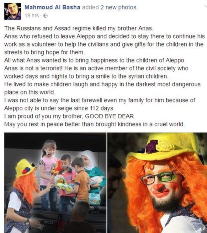 Post de Mahmoud al-Basha no Facebook