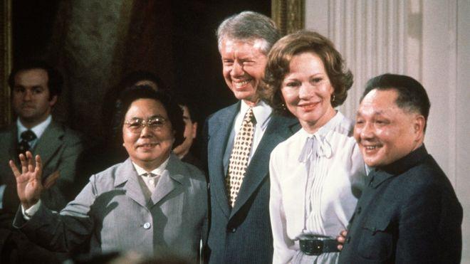 Vợ chồng Đặng Tiểu Bình cùng vợ chồng tổng thống Mỹ Jimmy Carter tại Nhà Trắng ngày 31/1/1979