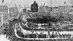 Grabado de la marcha de los trabajadores en Nueva York en 1882