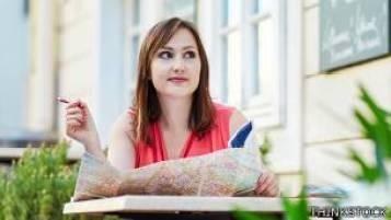 Mujer en un café en Viena