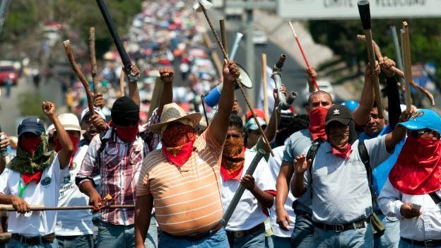 Protesta de maestros en Guerrero. Foto: AFP